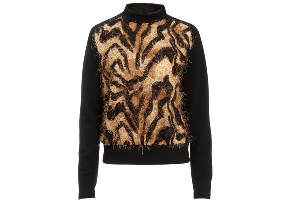 ASOS Woven Sweat With Fur Animal Print Panel