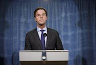 Netherlands Prime Minister Mark Rutte speaks at a press conference on January 29, 2013 in The Hague. The Netherlands&#39; Liberal-Labour coalition government said Friday they had agreed to slash over four billion euros from the 2014 budget in the hope of driving down the deficit to Europe&#39;s three percent ceiling