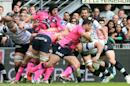 Stade Français hooker Laurent Sempere (3rd R) makes a break from the ruck during the French Top 14 match against Brive on May 23, 2015 at the Amede Domenech stadium