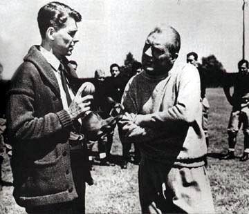 Ronald Reagan and Pat O'Brien in Warner Brothers' Knute Rockne