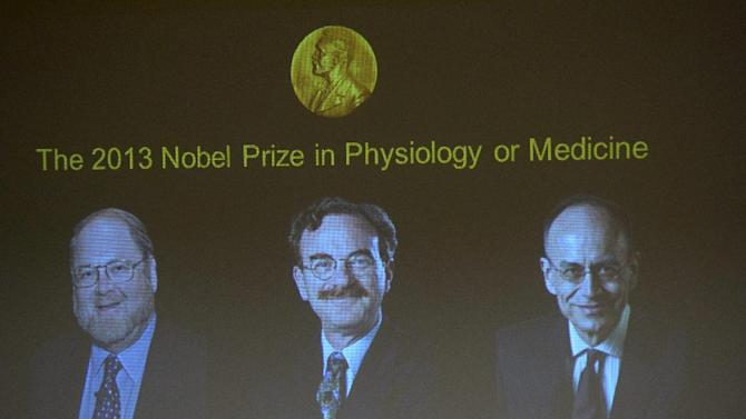 Images of James Rothman and Randy Schekman, of the US, and German-born researcher Thomas Suedhof are projected on a screen, in Stockholm, Sweden, Monday, Oct. 7, 2013, after they were announced as the winners of the 2013 Nobel Prize in medicine. Americans James Rothman and Randy Schekman and German-born researcher Thomas Suedhof won the 2013 Nobel Prize in medicine on Monday for discoveries on how proteins and other materials are transported within cells. (AP Photo/ TT News Agency Janerik Henriksson) SWEDEN OUT