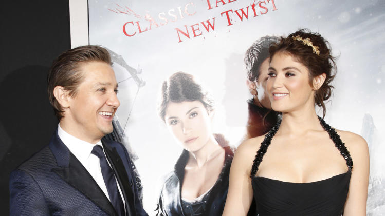 "Jeremy Renner and Gemma Arterton attend the premiere of ""Hansel & Gretel Witch Hunters"" on Thursday Jan. 24, 2013, in Los Angeles.  (Photo by Todd Williamson/Invision/AP)"