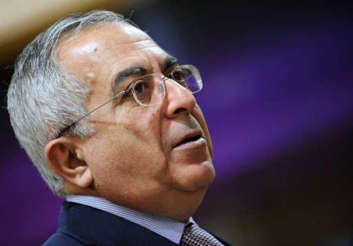Palestinian Prime Minister Salam Fayyad addresses a donor conference at the EU headquarters in March 2012. Israel sought a $1 billion IMF bridging loan for the Palestinian Authority earlier this year, but was turned down, an Israeli newspaper said in a report that was confirmed to AFP by a senior Israeli official