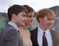 Daniel Radcliffe, Emma Watson & Rupert Grint (left to right) at the world premiere of Harry Potter & The Deathly Hallows Part 2 in London in July 2011.