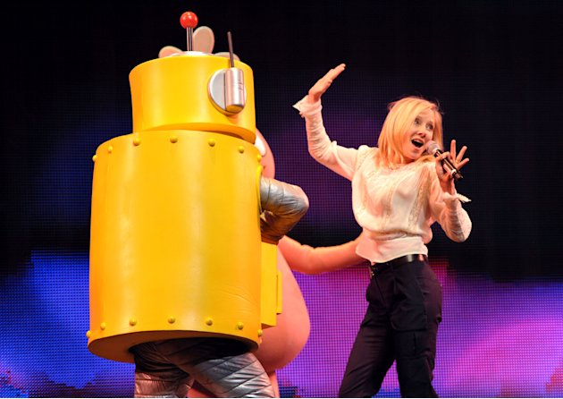 IMAGE DISTRIBUTED FOR GABBA CA DABRA - Anne Heche, right, and Plex appear on stage at Yo Gabba Gabba! Live!: Get The Sillies Out! 50+ city tour kick-off performance on Thanksgiving weekend at Nokia Th
