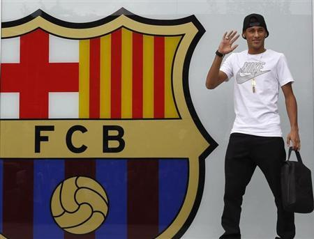 File photo of Neymar waving in front of FC Barcelona offices close to Camp Nou stadium in Barcelona