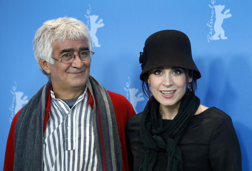 Co-director Kamboziya Partovi, left, and actress Maryam Moghadam, arrive for the the photo call of the film Closed Curtain at the 63rd edition of the Berlinale, International Film Festival in Berlin, Germany, Tuesday, Feb. 12, 2013. (AP Photo/Michael Sohn)