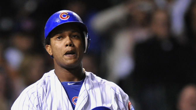 Chicago Cubs' Starlin Castro reacts to striking out in the fourth inning during a baseball game against the Houston Astros in Chicago, Monday, Oct. 1, 2012. (AP Photo/Paul Beaty)