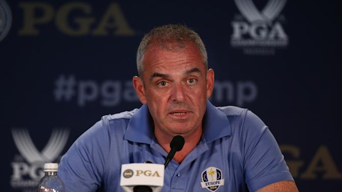 European Ryder Cup captain Paul McGinely talks to the media during a press conference on August 6, 2014 in Louisville, Kentucky