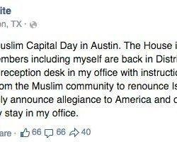 Texas Muslim Capitol Day Tainted By Anti-Islam Protesters, Lawmaker