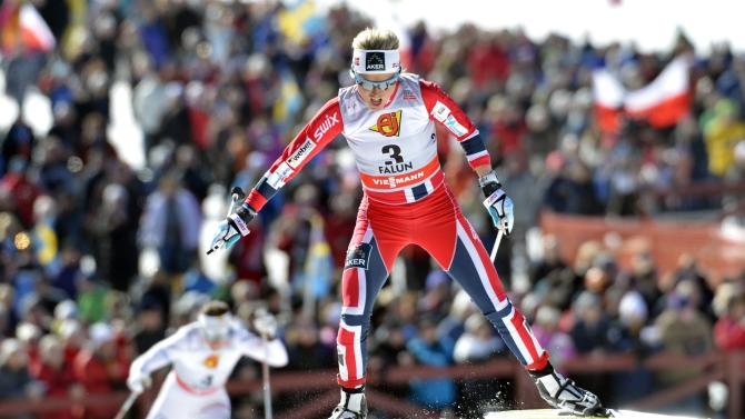 Norway's Therese Johaug in action during the women's 10km pursuit during the FIS Cross-Country World Cup Final in Falun, Sweden, Sunday March 24, 2013.  Johaug finished in second place. (AP Photo / ANDERS WIKLUND,  SCANPIX)   SWEDEN OUT