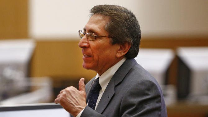 Prosecutor Juan Martinez makes his closing arguments to the jury on Tuesday, May 21, 2013 during the penalty phase of the Jodi Arias murder trial at Maricopa County Superior Court in Phoenix. Arias was convicted of first-degree murder in the stabbing and shooting to death of Travis Alexander in his suburban Phoenix home in June 2008. (AP Photo/The Arizona Republic, Rob Schumacher, Pool)