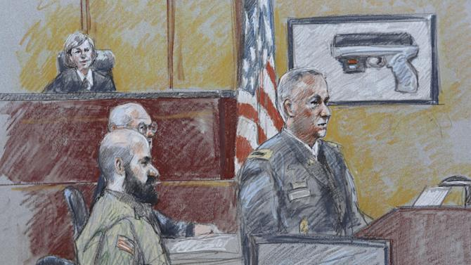 CORRECTS HENRICKS' RANK TO COLONEL INSTEAD OF LT. COLONEL - In this courtroom sketch, military prosecutor Col. Steve Henricks, right, speaks as Nidal Malik Hasan, center, and presiding judge Col. Tara Osborn look on during Hasan's court-martial Tuesday, Aug. 6, 2013, in Forth Hood, Texas. Hasan is representing himself against charges of murder and attempted murder for the 2009 attack that left 13 people dead at Forth Hood. (AP Photo/Brigitte Woosley)