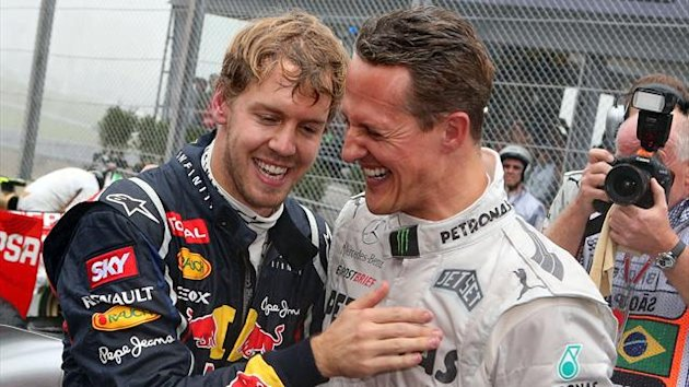 Michael Schumacher with Sebastian Vettel