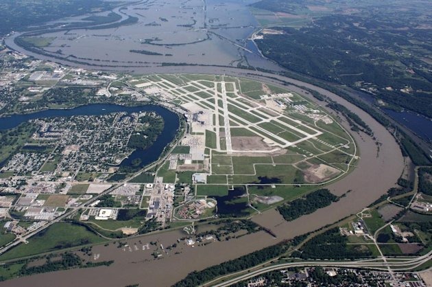 This aerial handout photo provided by the Omaha Airport Authority, taken June 15, 2011, shows flooding around the airport in Omaha, Neb. Extreme weather is a growing threat to the nation's lifelines _