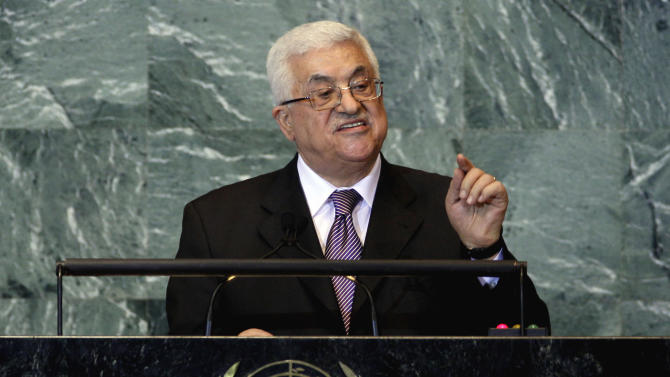 Palestinian President Mahmoud Abbas addresses the 66th session of the United Nations General Assembly, Friday, Sept. 23, 2011. (AP Photo/Richard Drew)