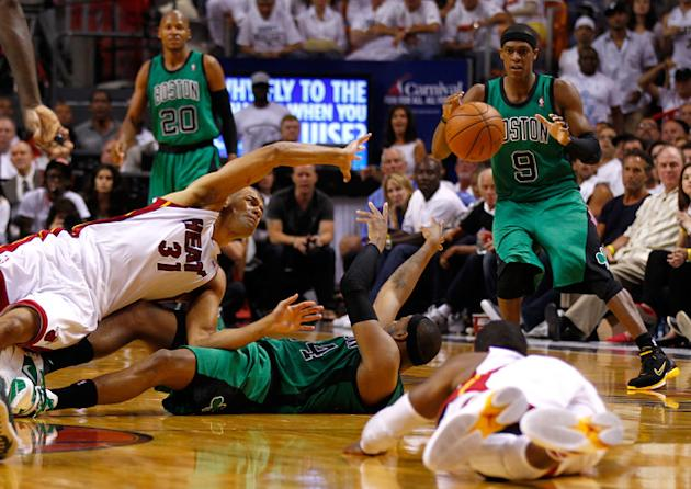 Paul Pierce #34 Of The Boston Celtics Passes Getty Images