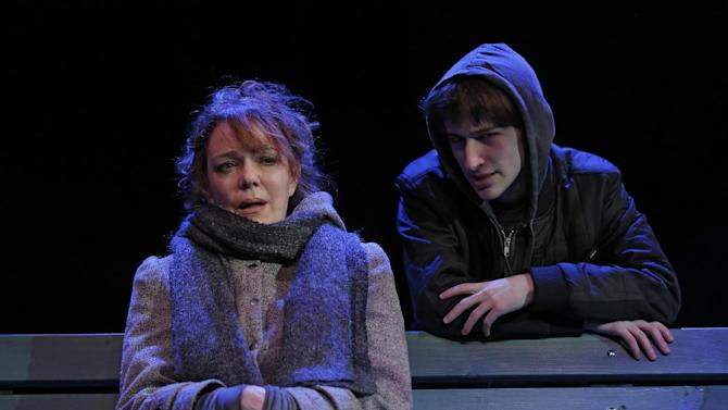 """This theater image released Spin Cycle shows Noah Robbins, right, and Deirde O'Connell during a performance of """"The Vandal,"""" at the Flea Theatre in New York. (AP Photo/Spin Cycle, Joan Marcus)"""