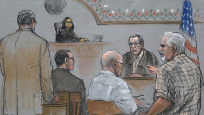 """This courtroom sketch depicts Steve Davis, right, brother of homicide victim Debra Davis, allegedly killed by James """"Whitey"""" Bulger, center, as Davis explodes in anger after Bulger's former partner Stephen """"The Rifleman"""" Flemmi, behind right, identified him as a drug user and informant at U.S. District Court, in Boston, Monday, July 22, 2013. U.S. federal judge Denise Casper, behind top left, prosecutor Assistant U.S. Attorney Fred Wyshak, left, and Bulger defense attorney Hank Brennan, center left, are depicted in the courtroom. (AP Photo/Jane Flavell Collins)"""