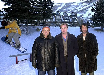 Joe Pantoliano, Christopher Nolan and Guy Pearce of Memento with a snowboarding dude Sundance Film Festival 1/21/2001
