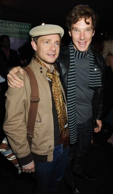Martin Freeman and Benedict Cumberbatch attend the UK Premiere of 'Creation', at Curzon Mayfair on September 13, 2009  -- Getty Images