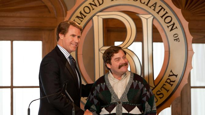 """This film image released by Warner Bros. shows Will Ferrell as Cam Brady, left, and Zach Galifianakis as Marty Huggins in a scene from """"The Campaign."""" (AP Photo/Warner Bros., Patti Perret)"""