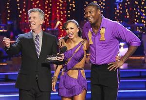 Tom Bergeron, Karina Smirnoff, Jacoby Jones | Photo Credits: Adam Taylor/ABC