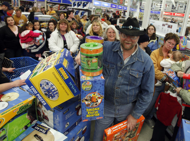 Shoppers wait in line at Toys &quot;R&quot; Us on Black Friday.
