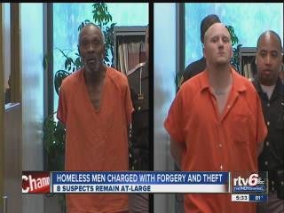 Homeless men charged with forgery, theft