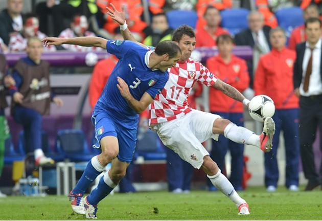 Italian Defender Giorgio Chiellini (L) Vies AFP/Getty Images