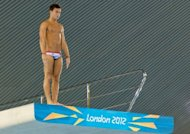 British diver Tom Daley prepare to dive during a practice session at the Aquatics Centre in London&#39;s Olympic Park on July 16. Britain will be hoping Daley can challenge for honours in the 10m synchronised platform final where he competes with partner Peter Waterfield