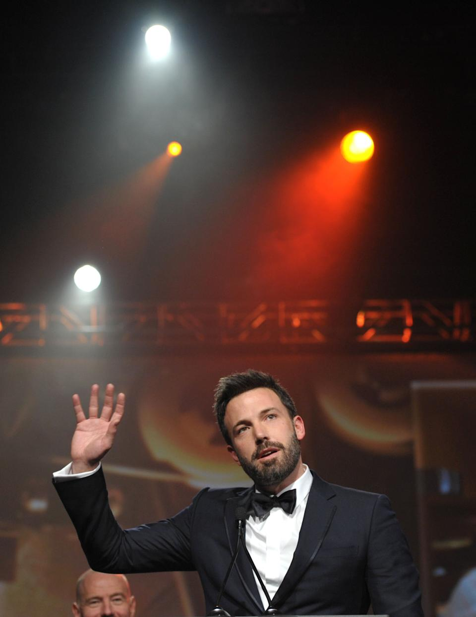 Ben Affleck appears on stage at the 24th Annual Palm Springs International Film Festival Awards Gala on Saturday, Jan. 5, 2013 in Palm Springs, Calif. The gala honors individuals in the film industry with awards for acting, directing, achievement in film scoring and lifetime achievement. (Photo by John Shearer/Invision/AP Images)
