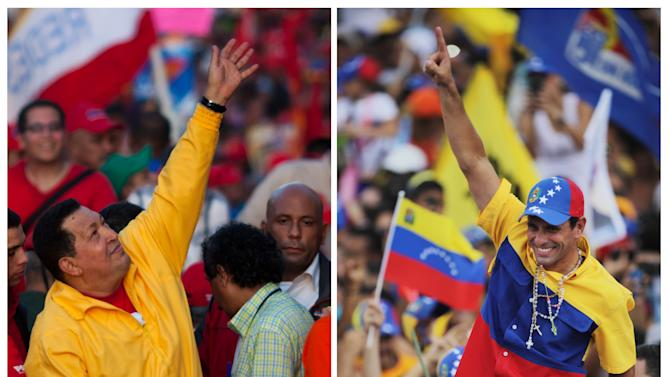 FILE - In this combo of two file photos shows Venezuela's President Hugo Chavez, left, waving to supporters during a election campaign rally in Guarenas, Venezuela on Sept. 29, 2012, and opposition presidential candidate Henrique Capriles, right, waving to supporters during a rally in Caracas, Venezuela on Sept. 30, 2012. Venezuelans will go to the polls on Oct. 7 for the country's presidential election. (AP Photo/Ariana Cubillos, Rodrigo Abd)