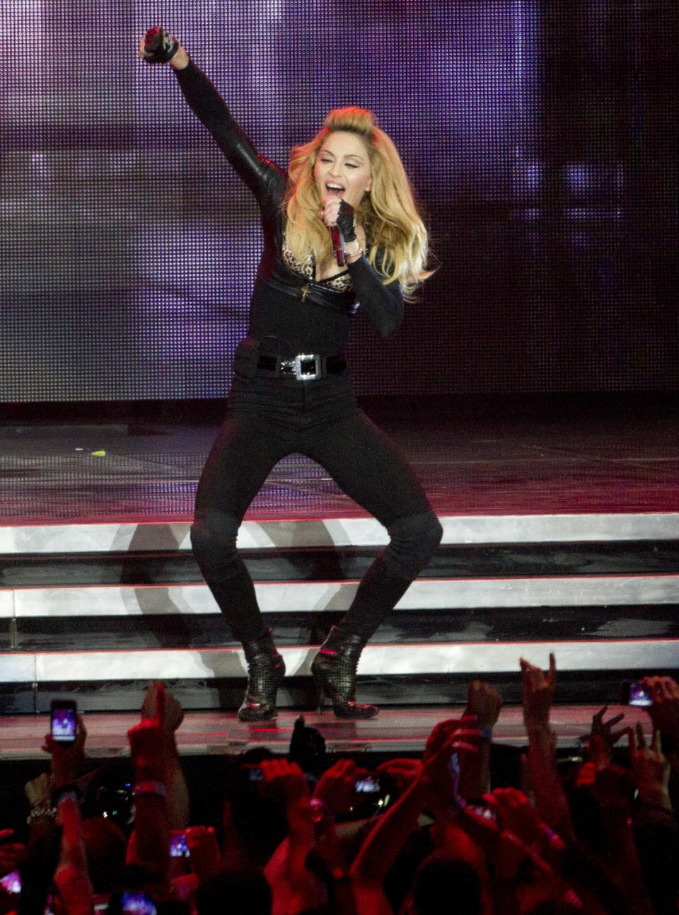 U.S pop icon Madonna at the Ramat Gan stadium nearTel Aviv, Israel, Thursday, May 31, 2012. Pop music star Madonna is kicking off her new world tour in front of tens of thousands of ecstatic fans in Israel. (AP Photo/Ariel Schalit)