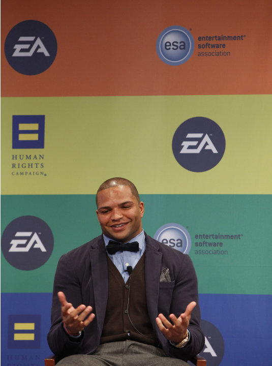 NFL linebacker and Super Bowl Champion Brendon Ayanbadejo of the Baltimore Ravens speaks at Electronic Arts'  LGBT Full Spectrum Event on Thursday, March, 7, 2013 in New York City, New York. (Photo by