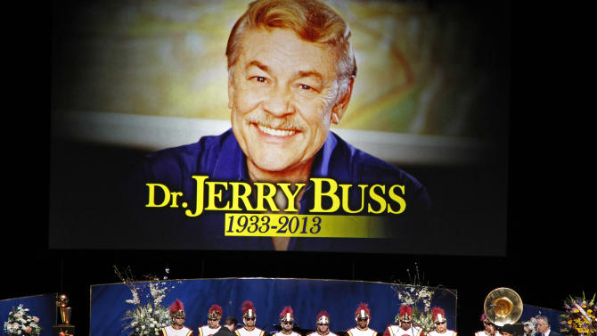 """The Southern California marching band prepares to play """"Amazing Grace"""" during a memorial service for Jerry Buss, the late Los Angeles Lakers owner who died Monday from cancer complications, Thursday, Feb. 21, 2013, in Los Angeles. (AP Photo/Reed Saxon)"""