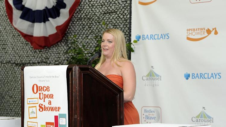 Melissa Joan Hart speaks at Operation Shower, hosted by Hart and sponsored by Carousel Designs at The 2012 Barclays, on Wednesday, Aug. 22, 2012 in Farmingdale, NY. (Photo by Kathy Kmonicek/Invision for Carousel Designs/AP Images)
