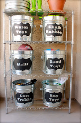 Labeled Buckets for Outdoor Items