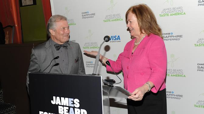 "IMAGE DISTRIBUTED FOR CHASE SAPPHIRE PREFERRED - Taste America honorary chair, chef Jacques Pepin, left, and James Beard Foundation president Susan Ungaro speak at the kick-off event for the James Beard Foundation's ""Taste America"" traveling food festival presented by Chase Sapphire Preferred Visa Signature at the James Beard House on Wednesday, June 12, 2013 in New York City, New York. (Photo by Evan Agostini/Invision for Chase Sapphire Preferred/AP Images)"