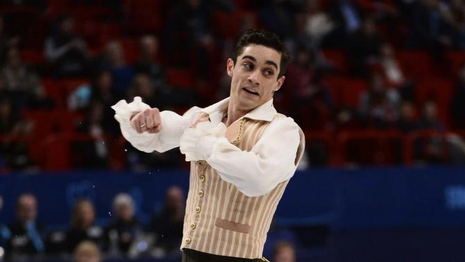 Javier Fernandez of Spain performs during the men's free program at the European Figure Skating Championships in Stockholm