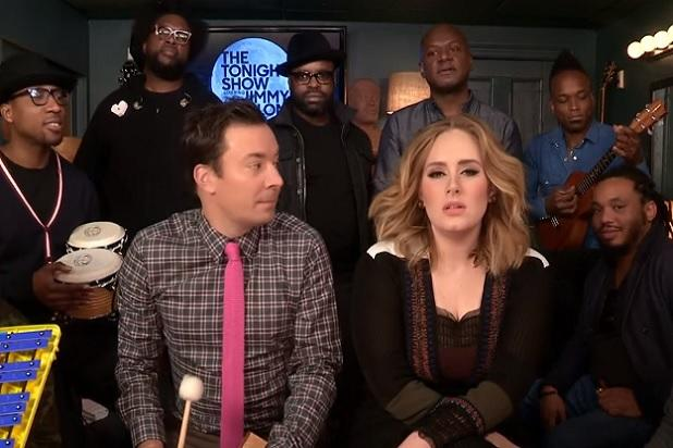 Adele and Jimmy Fallon Perform 'Hello' Using Classroom Instruments (Video)