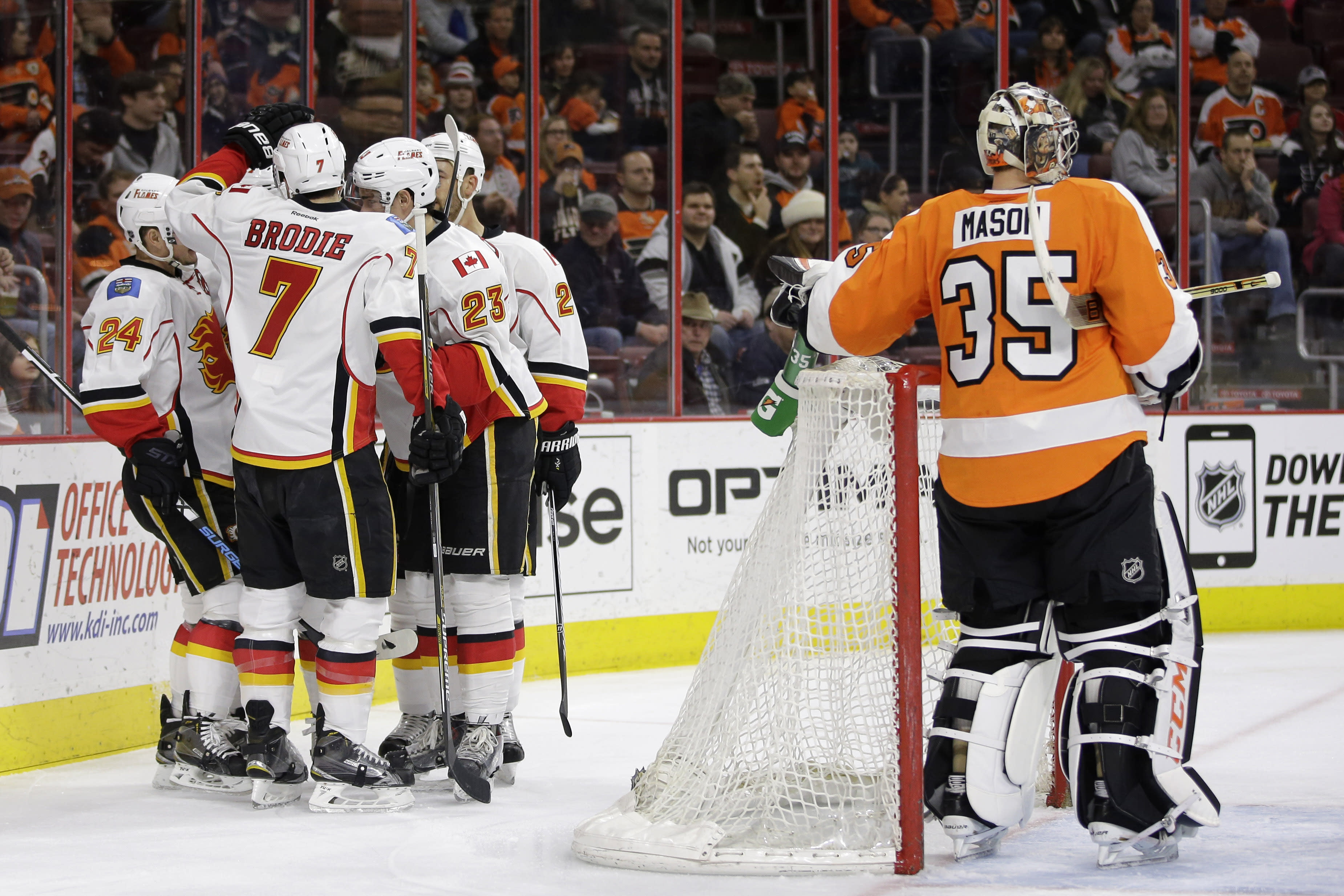 Hudler scores in OT to give Flames 3-2 win over Flyers