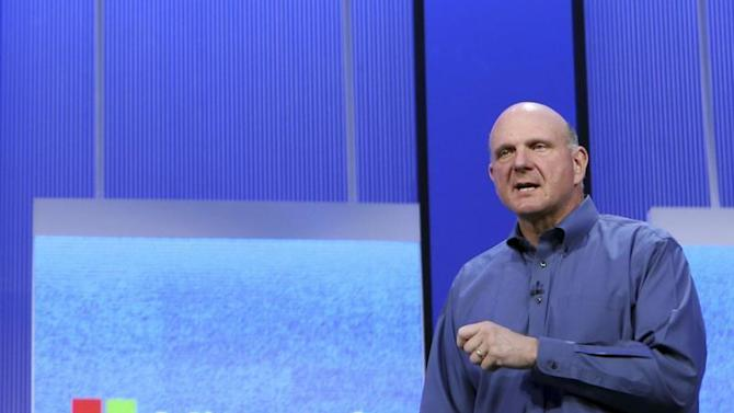 "Microsoft CEO Ballmer speaks during his keynote address at the Microsoft ""Build"" conference in San Francisco"