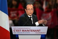 France&#39;s opposition Socialist Party (PS) candidate for the 2012 French Presidential election, Francois Hollande at a campaign meeting on April 29, 2012 at the Palais Omnisports Paris-Bercy in Paris. Hollande&#39;s campaign was shaken over the weekend by a new episode in the saga of his party&#39;s ties to disgraced former IMF chief Dominique Strauss-Kahn