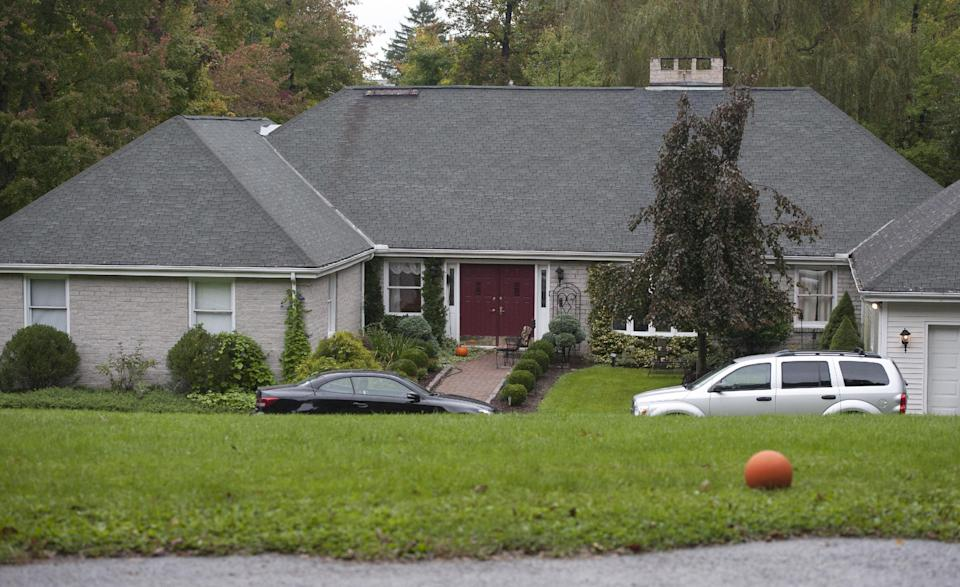 The home of Jeffrey Giuliano is scene here in New Fairfield, Conn., Friday, Sept. 28, 2012. Giuliano fatally shot a masked teenager in self-defense during what appeared to be an attempted burglary early Thursday morning, then discovered that he had killed his son, state police said. (AP Photo/Jessica Hill)