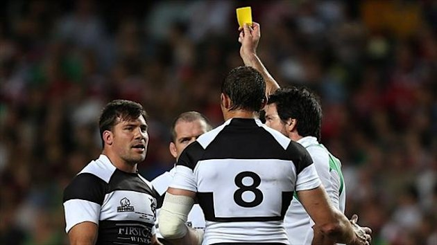 Schalk Brits, left, was shown a yellow card during the Barbarians' clash with the Lions