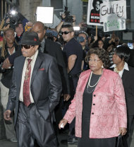 Michael Jackson's parents Joe and Katherine Jackson arrive at the Criminal Justice Center in downtown Los Angeles Monday, Nov. 7, 2011 after it was announced that jurors had reached a verdict in the involuntary manslaughter trial of Dr. Conrad Murray, Michael Jackson's physician when the pop star died in 2009. (AP Photo/Nick Ut)