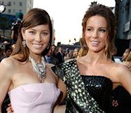 Jessica Biel and Kate Beckinsale at the &#39;Total Recall&#39; premiere at Grauman&#39;s Chinese Theatre on August 1, 2012 in Hollywood