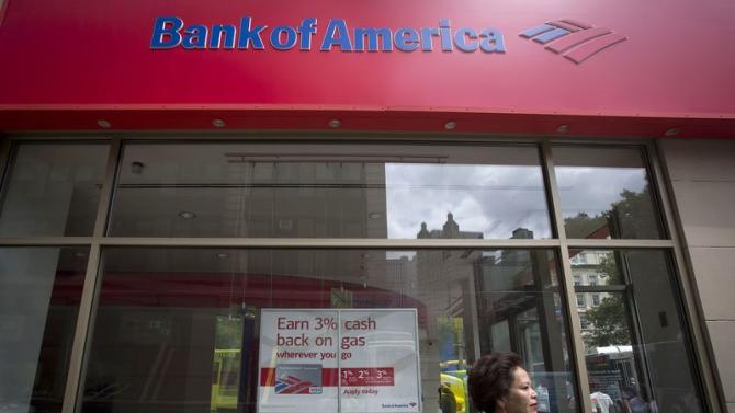 A Bank Of America sign is pictured in the Manhattan borough of New York