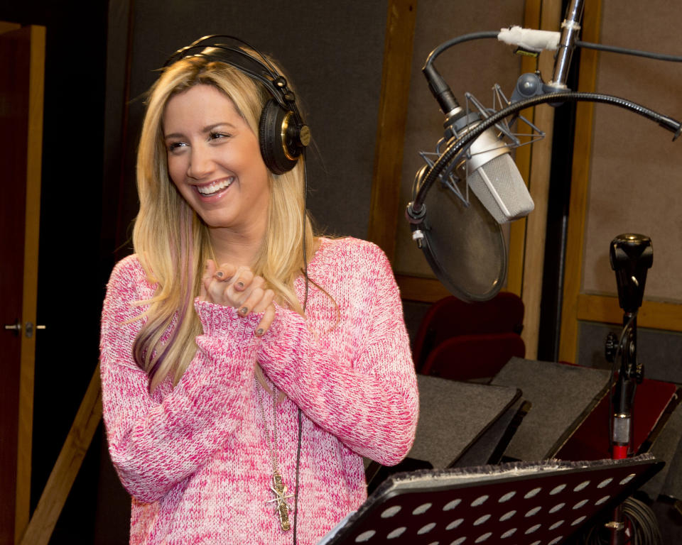"In this undated image released by The Hub, actress Ashley Tisdale appears at a recording session for the new animated series ""Sabrina: Secrets of a Teenage Witch."" The Hub TV series that debuts 9 a.m. EDT Saturday. (AP Photo/The Hub, Lisa Rose)"